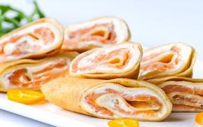 Picture pancakes, salmon, rolls