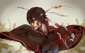 Picture blood, sword, art, guy, Gintama