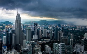 Picture clouds, the city, building, panorama, Malaysia, Kuala Lumpur