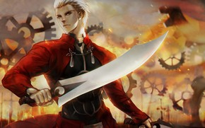 Picture sword, anime, art, guy, Fate/Stay Night, Fate stay Night