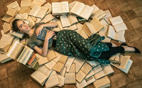 Picture look, girl, pose, books, lies, on the floor, Anna Pagota