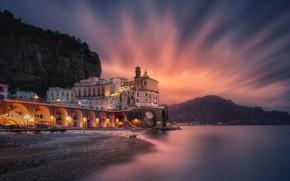 Picture sea, landscape, mountains, rocks, coast, building, the evening, lighting, Italy, Atrani, municipality