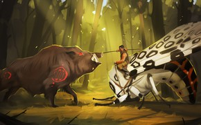 Picture forest, butterfly, people, battle, art, spear, boar
