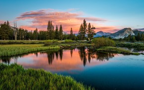 Picture sunset, mountains, lake