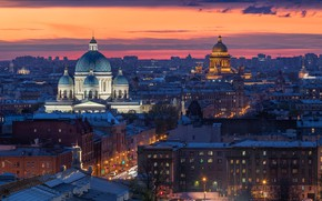 Picture the city, building, home, the evening, Peter, lighting, Saint Petersburg, St. Isaac's Cathedral, dome, Trinity …