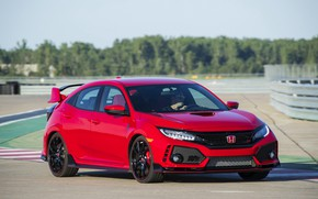 Picture red, Honda, hatchback, the five-door, on the track, 2019, Civic Type R, 5th gen, FK8
