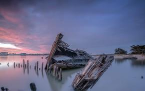 Picture sunset, shore, ship