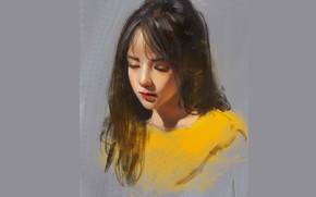 Picture face, eyelashes, sponge, grey background, long hair, closed eyes, yellow jacket, portrait of a girl, …