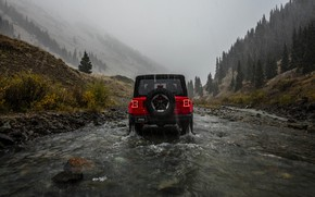 Picture red, rain, overcast, rear view, 2018, Jeep, Wrangler Rubicon