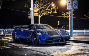 Picture Pagani, Blue, Rain, Supercar, To huayr, BC