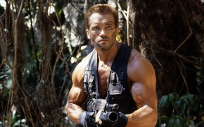 Picture weapons, jungle, actor, Predator, Predator, Arnold Schwarzenegger, Arnold Schwarzenegger, 1987, a scene from the movie, …