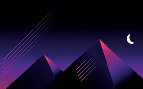 Picture Minimalism, Style, Pyramid, Pyramid, Style, Illustration, A month, Synth, Retrowave, Synthwave, Futuresynth