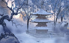 Picture snow, fence, pagoda, Japan, winter forest, Japanese temple, by Surendra Rajawat