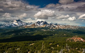 Picture forest, clouds, light, mountains, blue, the slopes, tops, view, dal, shadows, snow, forest