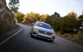 Picture speed, turn, Volkswagen, sedan, Passat, 2020, 2019, US Version