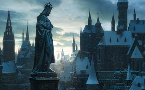 Wallpaper the city, building, roof, statue, winter