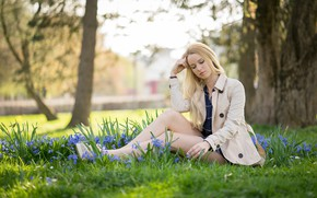 Picture girl, nature, pose, spring, jacket, snowdrops, sitting, bokeh