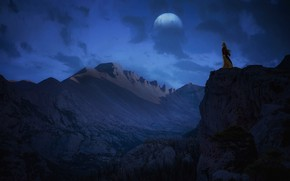 Picture the sky, girl, mountains, night, fiction, open, rocks, planet, height, fantasy, Princess