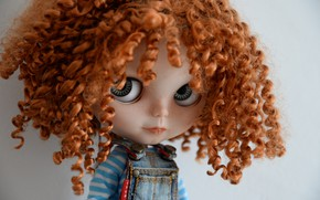 Picture look, hair, Doll, curls, red