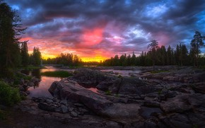 Wallpaper forest, sunset, river, Finland, In Kuusamo