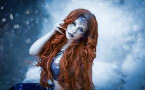 Wallpaper look, girl, face, background, mermaid, makeup, long hair, curls, Lenka Marcova