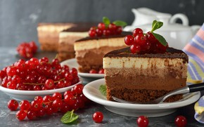Picture berries, chocolate, cake, currants, sweet