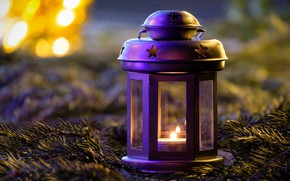 Picture winter, purple, light, branches, lights, lilac, holiday, candle, Christmas, flashlight, lantern, New year, needles, bokeh, …