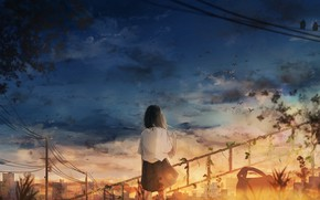 Picture girl, sunset, the city