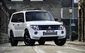 Picture road, white, rails, Mitsubishi, 2012, Black, Pajero, SUV, Shogun, the five-door, Montero