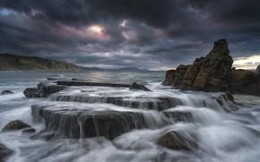 Picture sea, landscape, clouds, nature, rocks, coast, beauty
