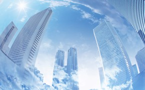 Picture clouds, the city, building, photo art