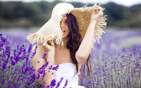 Picture field, summer, girl, flowers, portrait, hat, lavender