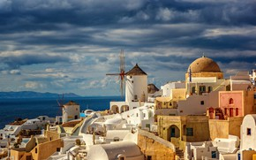 Picture sea, landscape, mountains, clouds, the city, island, home, Santorini, Greece, stairs, the dome, Thira, Markus …