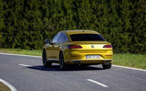 Picture road, yellow, Volkswagen, rear view, 2018, R-Line, liftback, 2017, Arteon