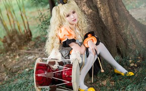Picture girl, nature, hairstyle, image, Asian, cutie, drum, cosplay
