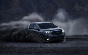 Picture movement, earth, dust, Honda, pickup, 2020, Ridgeline, 2021