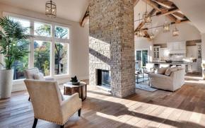 Picture Villa, interior, kitchen, fireplace, living room, luxury villa