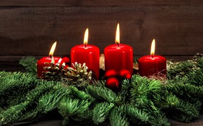 Picture new year, Christmas, candles, red candles