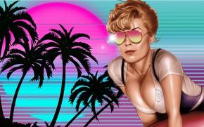 Picture Girl, Retro, Glasses, Style, Girl, Palm trees, Background, Art, Blik, Art, 80s, Style, Neon, Figure, …