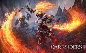 Picture girl, fire, swords, Darksiders 3
