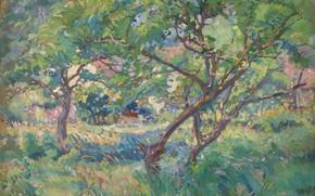 Picture landscape, picture, 1909, Karl Albert Buehr, Carl Albert FYR, Artist's House. View Through The Trees