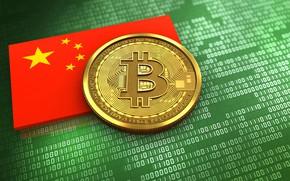 Picture green, China, flag, matrix, china, flag, bitcoin, bitcoin, btc