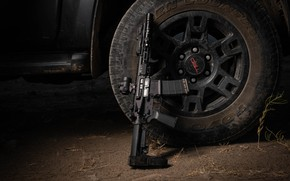 Picture weapons, wheel, carabiner, assault rifle