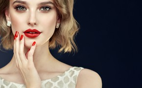 Picture girl, hand, makeup, blonde, manicure, model