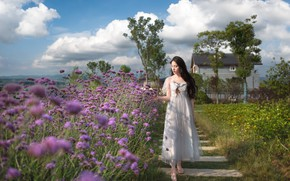 Picture field, girl, flowers, house, walk, Asian