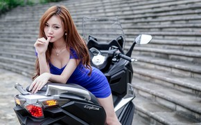 Picture look, Girls, Asian, beautiful girl, scooter, SYM CRUiSYM 300i, posing on a scooter