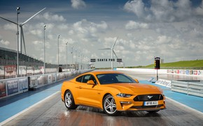 Picture orange, Ford, front view, Fastback, 2018, Mustang GT