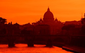 Picture river, the evening, Rome, Italy, glow, St. Peter's Cathedral, The Tiber, Мост Умберто