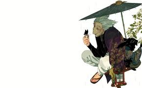 Picture rain, umbrella, guy, Vanpatten, Onepunch-Man