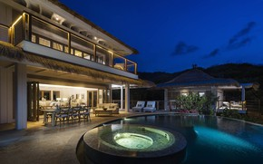 Picture Villa, the evening, pool, Caribbean, British Virgin Islands, Luxury Villa, BVIs, Moskito Island
